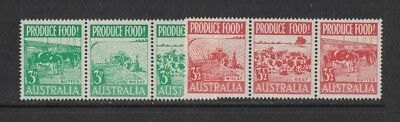 1953 Australia Food Production SG 255/60 in Strips 3 MLH