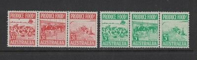 1953 Australia Food Production SG 255/60 MUH Set 6 in Strips 3