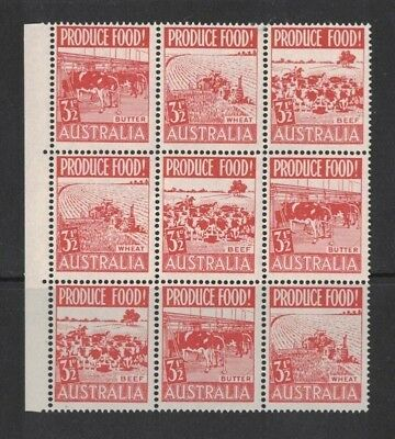 1953 Australia Food Production SG 258/60 in block of 9 MLH, wholesale