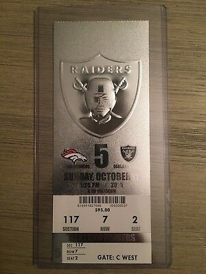 2015 Oakland Raiders Official NFL Mint Season Ticket Stub - pick any game!