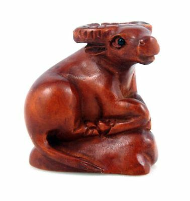 Boxwood Hand Carved Japanese Netsuke Sculpture Seated Buffalo Rock #08131801