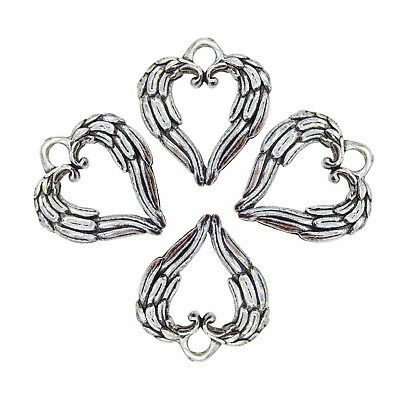30pcs Pack Heart Shaped Animals Feather Charms Retro Silver Metal Alloy Pendants