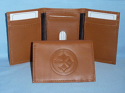PITTSBURGH STEELERS   Leather TriFold Wallet    NEW    brown 2   m1
