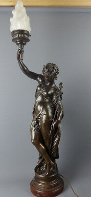 Mathurin Moreau, The lady with the torch, Skulptur, Anfang 20. Jhd., Régule