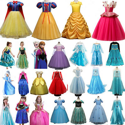 AU Girls Princess Belle Cinderella Aurora Dress Fancy Party Costume Cosplay Lot