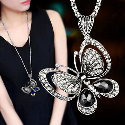 Antique Silver Plated Zircon Butterfly Long Necklace For Women Jewelry Party