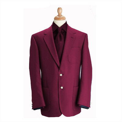 New Brook Taverner Henley Classic Wool Blend Patch Blazer - Wine - Choose Size