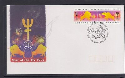 CHRISTMAS IS  1997  Year of the OX  design set joined pair  on FDC.