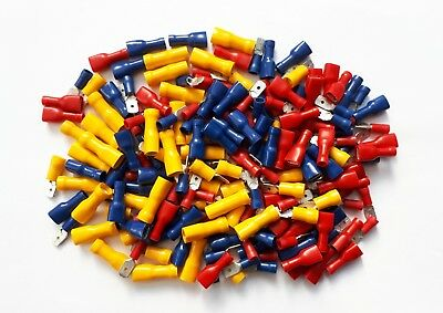 Male & Female Spade Terminals, Crimp Connectors 200 Pk Mixed Red, Blue, Yellow