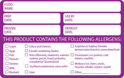 Prepped Food Labels/Allergy Labels. 500 Labels Per Roll 60mm x 95mm