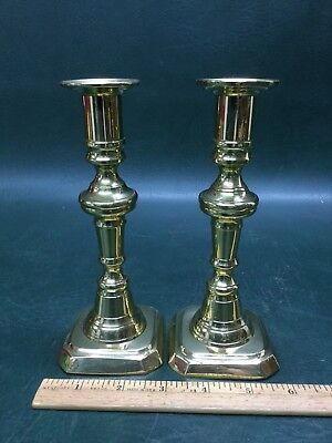 Antique Pair of Brass Candlesticks With Push Up Rods 7""