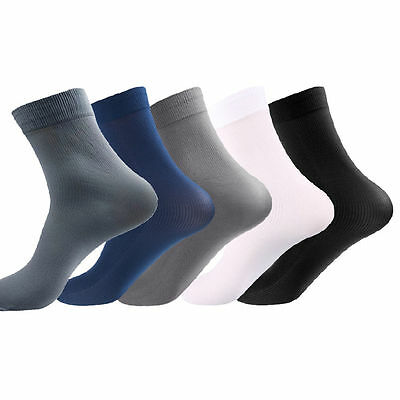 5 Pairs Mens Bamboo Fiber Stockings Thin Socks Casual Dress Business Long Socks