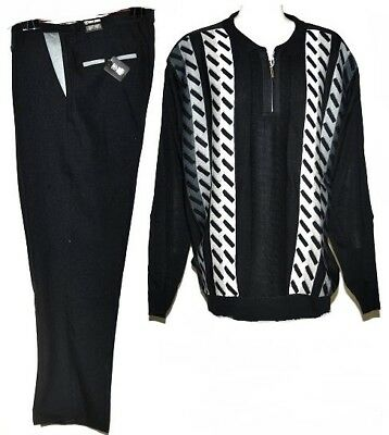 Stacy Adams Men's Vertical Panel Sweater & Pant Set in Black/Grey/White-4XL/48