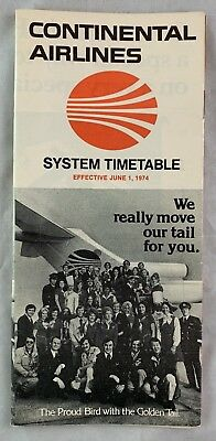Airline Timetable Continental Airlines June 1 1974 Proud Bird w Golden Tail