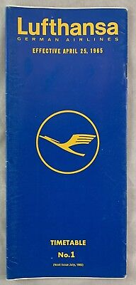Airline Timetable April 25 1965 Lufthansa German Airlines No 1