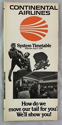 Airline Timetable Continental Airlines June 1 1975 Yosemite Sam Looney Tunes +
