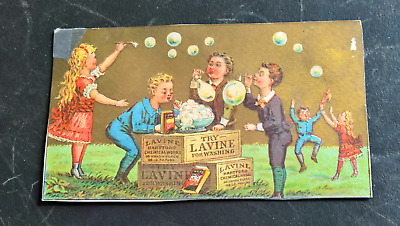 Children Blowing Bubbles Lavine for Washing Victorian Trade Card B2