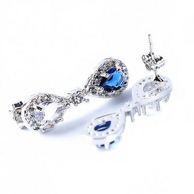 Silver Plated Blue Sapphire Princess Bridal Wedding Drop Dangle Earrings Stud LD
