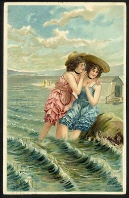 GOSSIP at Beach BATHING Suit BEAUTIES Two Cute Young Women BFF Postcard 1913