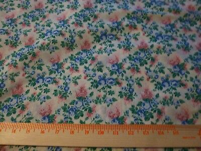 """Vintage  cotton quilting fabric-blue roses, pink floral on white 2 yds x 45"""""""