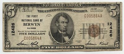 1929 $5 National Currency Note 12426 Berwyn Illinois Bank - Five Dollars - AX336
