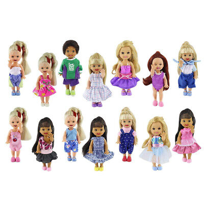 6 Set Fashion Cute Clothes Dress Outfit Shirt Pants for Little 4 inch Doll Gift