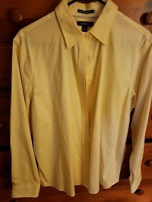 Lands End Navy White Noiron Pinpoint Cotton Oxford Shirt Career Top