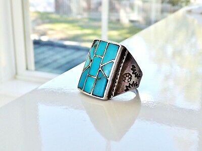 Old Southwest Sterling Silver Navajo Turquoise Mens Inlaid Signet Size 8.5 Ring