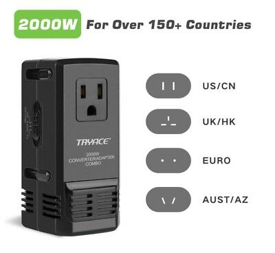 2000W Worldwide Travel Converter and Adapter for Hair Dryer/Phones/Laptop,Set Do