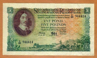South Africa, 5 Pounds, 1957, P-97c, VF > 60 years old
