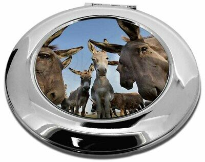 Donkeys Intrigued by Camera Make-Up Round Compact Mirror Christmas Gi, DONK-2CMR