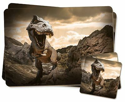 3D Dinosaur by Rocks Twin 2x Placemats+2x Coasters Set in Gift Box, DIN-3PC
