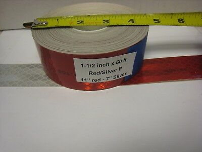 """3M BRAND  1-1/2"""" x50'  Roll SILVER & RED  PRISMATIC REFLECTIVE  TAPE 7-11 DOT-C2"""