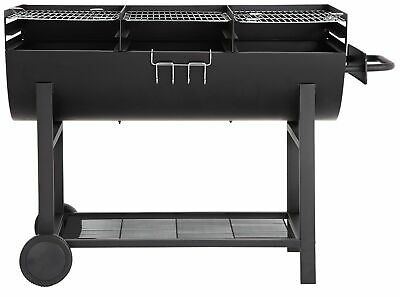 Extra Large Charcoal Party 3 Section Drum BBQ - Black