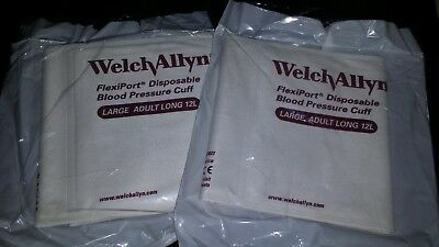 2 Welch Allyn 901044 Soft-12L Flexiport Blood Pressure Cuffs 12 Large Adult Long