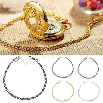 Retro Bronze Silver Alloy Antique Quartz Vintage Fob Albert Pocket Watch Chain
