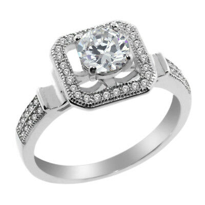 Stunning 2.00 Carat Round Cubic Zirconia 925 Silver Ring with CZ Accent