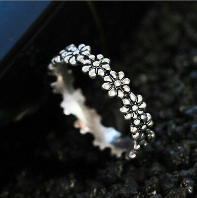 Simple Fashion 925 Silver Daisy Flower Wedding Proposal Jewelry Ring Size 6-10