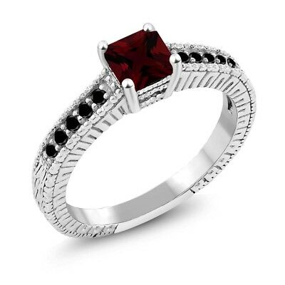 1.09 Ct Princess Red Garnet Black Diamond 925 Sterling Silver Ring