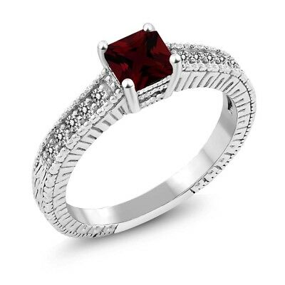 1.09 Ct Princess Red Garnet White Diamond 925 Sterling Silver Ring