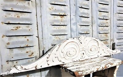 Painted cottage scroll leaves pediment Antique french wooden salvaged furniture