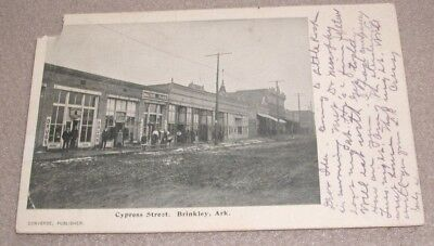 Brinkley AR Arkansas Postcard Cypress St Barber Shop Storefronts Drugs Ark 1907