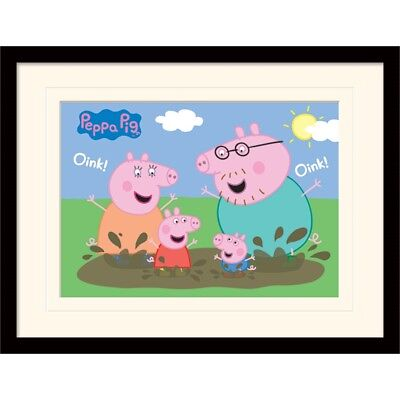 Peppa Pig (pig Family Muddy Puddle) Mounted & Framed 30 x 40cm Print