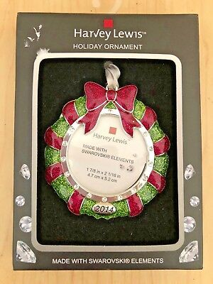 Harvey Lewis Red &Green Glitter Holiday Ornament With Swarovski Elements 2014