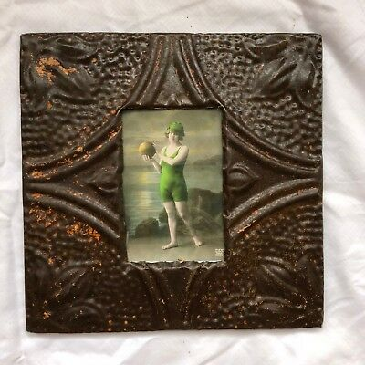 "1890's reclaimed antique ceiling tin picture frame 4"" x 6"" brown rust 527-18"