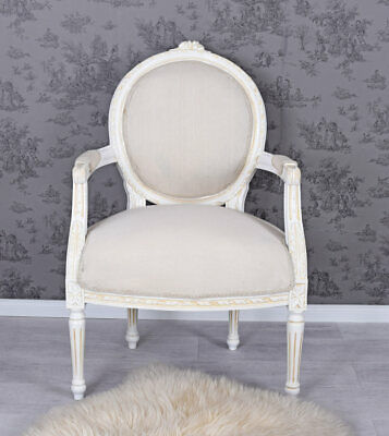 Noble Bergere Armchair Chaise Rococo Style White