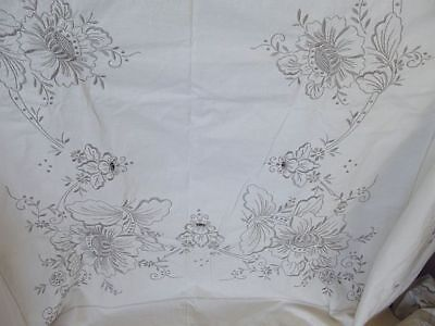 """MADEIRA Tablecloth 62"""" x 92"""" Heavy Hand-Embroidered GRAY on IVORY HEIRLOOM"""