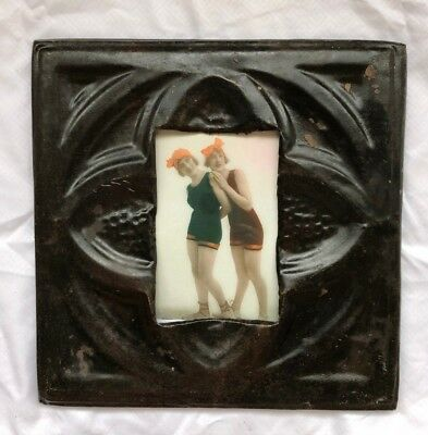 "1890's reclaimed antique ceiling tin picture frame 4"" x 6"" Metal rust 534-18"
