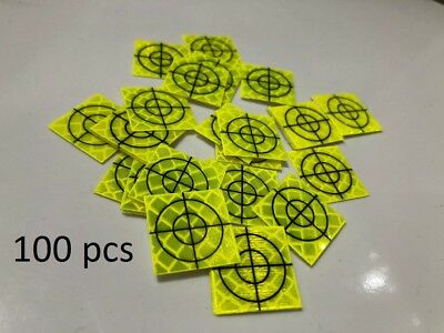Pack of 100 Yellow Retro Survey Targets 20x20mm Adhesive For Total Stations EDM