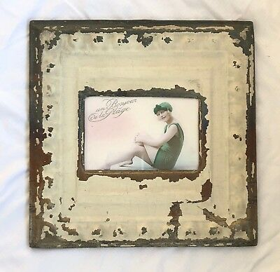 "Antique 1890's Ceiling Tin Picture Frame 4"" x 6"" Reclaimed Metal Ivory 540-18"